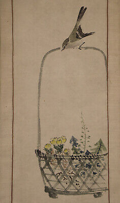 """JAPANESE HANGING SCROLL ART Painting """"Bird and Flower"""" Asian antique  #E6232"""