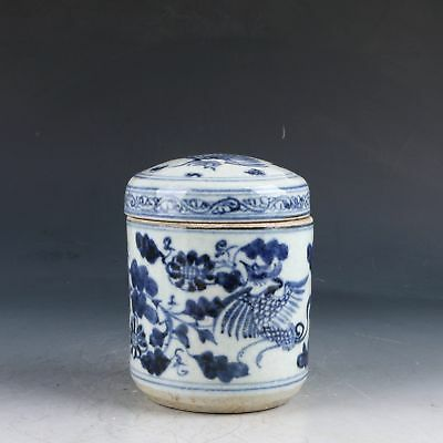 Chinese Blue And White Porcelain Handwork Carved Crane & Flower Pot CC0185