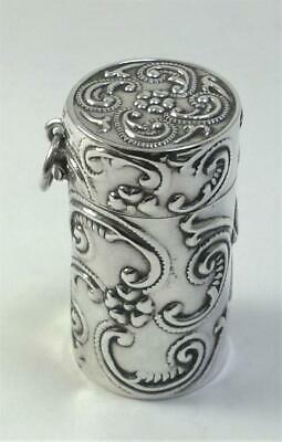 Vintage hallmarked Sterling Silver Pill Box/Scent Bottle Case–2000 by Ari Norman