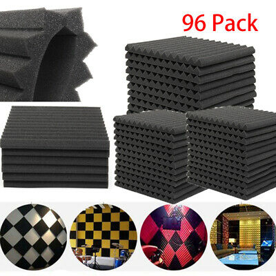 "96Pack Acoustic Foam Panel 12"" X 12"" X 1"" Studio Wedge Soundproofing Wall Black"