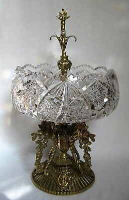 European Cut Glass Centerpiece Compote with Brass/Bronze Handle and Base