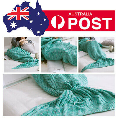 Scaled Mermaid Tail Blanket Crochet Knitting Colour Mixed Soft Winter Towel Mat