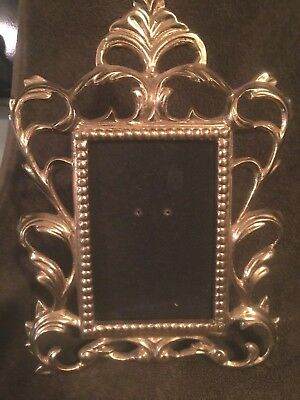 Antique Vintage  Victorian Brass Ornate Picture Frame -*No Glass* 3.7 x 5.3