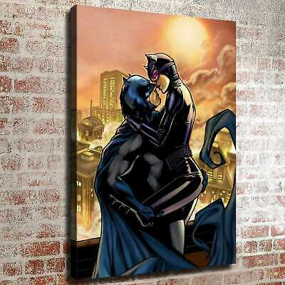 Batman and catwoman kiss HD Canvas prints Painting Home decor Room Wall art 6217