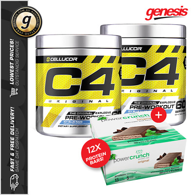 2 X C4 60 Serves Original ID Series by Cellucor + Box of 12 Protein Bars!