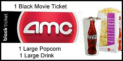 One Black Movie Ticket and Large Popcorn and Large Drink at AMC Theaters