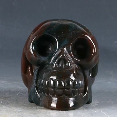 100% Natural Agate Handwork Carved Skull Statue CC0142