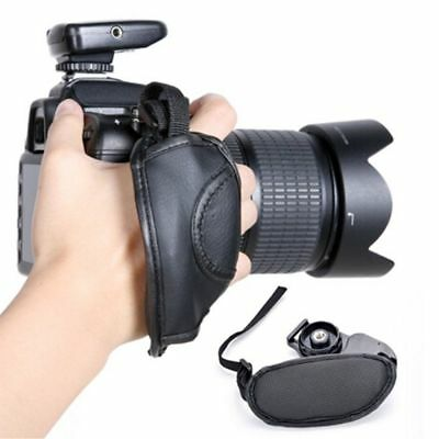1Pc Durable PU Leather Strap Hand Grip Camera Black Leather Wrist Strap