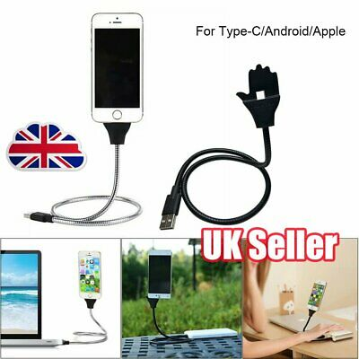 Lazy Stand Up Charging Cable Flexible Phone Holder Bracket USB Charger iPhone YP