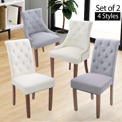 Elegant 2 Pcs Fabric Accent Dining Chairs Tufted Pattern Dining Room Beige/Gray