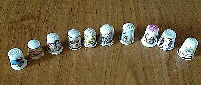 Thimbles collection of 10 collectable porcelain and bone China made in England
