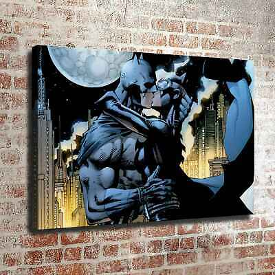 "12""x18""Batman Catwoman kiss HD Canvas prints Painting Home decor Room Wall art"