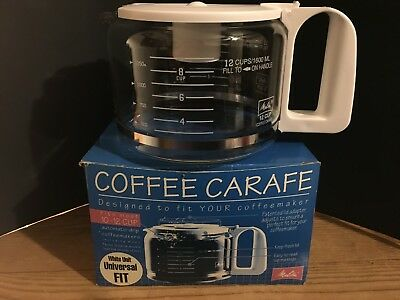 Melitta Universal Fit Coffee Maker Carafe 10 12 Cup White