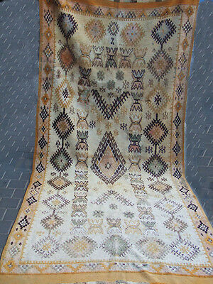 ORIGINAL ANTIQUE MOROCCAN WOOL CARPET RUG HAND MADE 330x137-cm / 129.9x53.9-inch