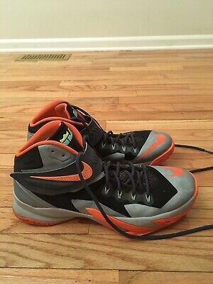 cb43018257aa9 Nike LeBron Zoom Soldier VIII Men s Gray Orange Basketball Shoes Size 13