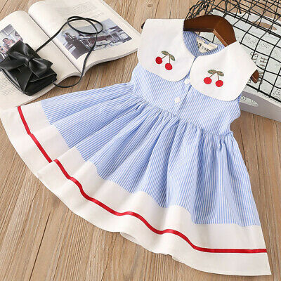 Toddler Kids Baby Girls Sleeveless Cherry Stripe Party Princess Dresses Clothes