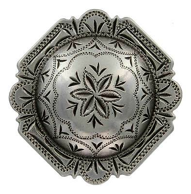Antique Silver, Rounded Square Engraved Windrose Concho 1""