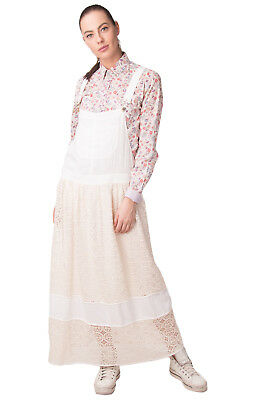 ATOS LOMBARDINI Maxi Pinafore Dress Size IT 42 / S Silk Blend Lace Made in Italy