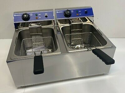 13 Litre Twin Tank Electric Chip Chips Fryer Table Top Mirror + Safety Features