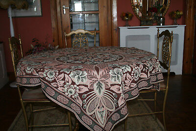 Vintage French Large Woven Tapestry Floral Design Tablecloth.