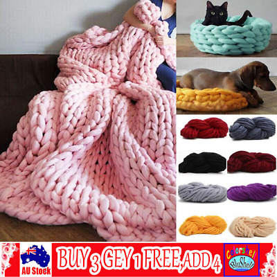 250g Super Thick Bulky Wool Yarn Soft Chunky Hand Knitting Hat Scarf Blanket C