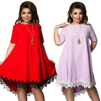 Women Large Size Patchwork Tassel Dress Loose Plus Size Chiffon
