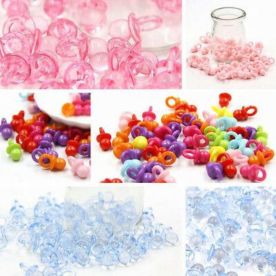 50x Mini Acrylic Baby Shower Favor Baptism Pacifier Christenings Party Bag Decor