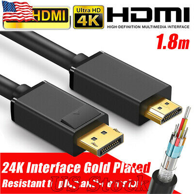 4K Display Port Dp To Hdmi Male Cable For Lcd Pc Laptop Av Cable Adaptor 1.8M