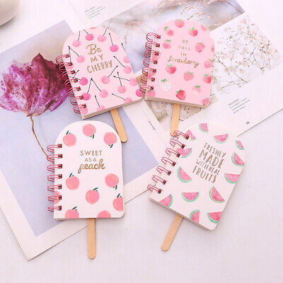 Cute Strawberry Popsicle Fruit Shaped Mini Diary Notebook Coil Book Memo Journal