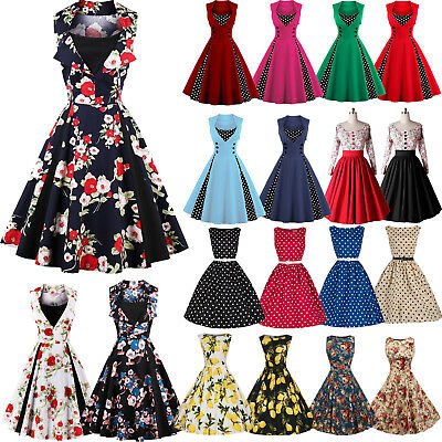 Women Vintage 50s Sleeveless/Long Sleeve Swing Pleated Ladies Party Skater Dress