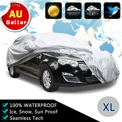 Waterproof XL Large Full Car Cover 3 Layer Heavy Duty Breathable UV Protection