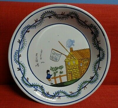 Antique french Dutch Delft Pottery Polychrome Plate Dish hotel de la paix