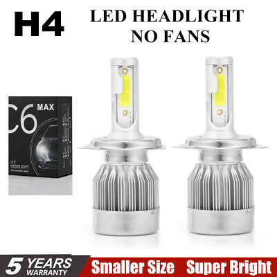 Pair C6 COB H4 22500LM 150W LED Car Headlight Kit Hi/Lo Turbo Light Bulbs 6000K@