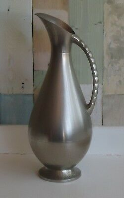 Large Vintage Metawa Holland Silver Metal Industrial Style Pitcher Jug Vase