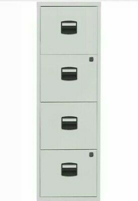 ^ 4 Drawer 'bisley' Steel Filing Cabinet White A4 Home Office Lockable 48:1