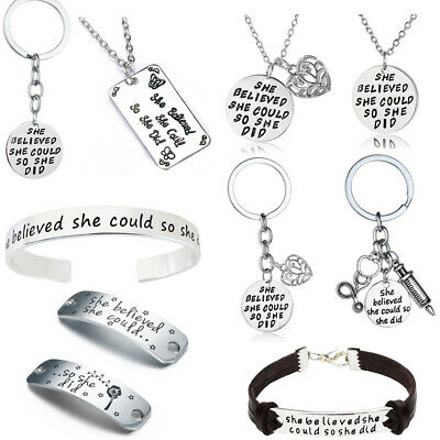 SHE BELIEVED SHE COULD SO SHE DID Gift For Her Keyring Necklace Women Jewelry