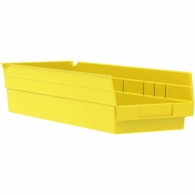 "Akro-Mils 30138 Plastic Shelf Bin Nestable - 6-5/8""W x 17-7/8""D x 4""H Yellow,"