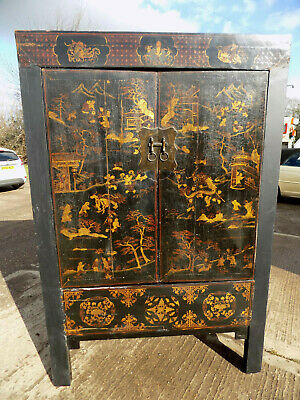 vintage,chinese,laquered,japaned,wardrobe,linen press,cabinet,large,oriental