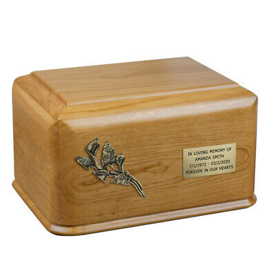 Solid Oak Cremation Urn for Adult Unique Memorial Funeral urn for Human Ashes