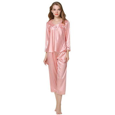 Autumn Women Silk Pajamas 2 Sets Long Sleeve Sleepwear Casual Lace Home Wea P4R8