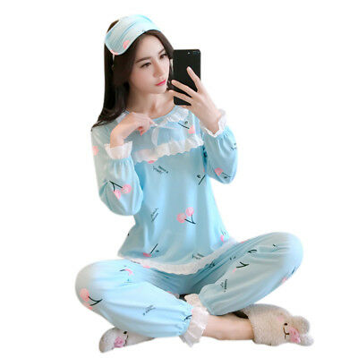 Women Autumn Cartoon Long Sleeve pajamas sets Cute Sleepwear Cotton Home We U7C6