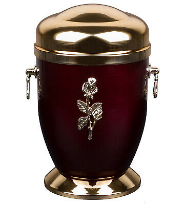 Metal Cremation Urn for Adult Unique Memorial Funeral urn for Human Ashes (Rose)