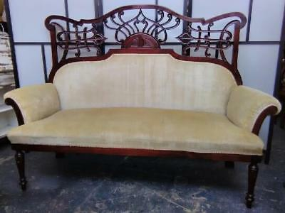 Art Nouveau Cream Upholstered Mahogany Salon Sofa. Ornate Fretwork Back. C.1900