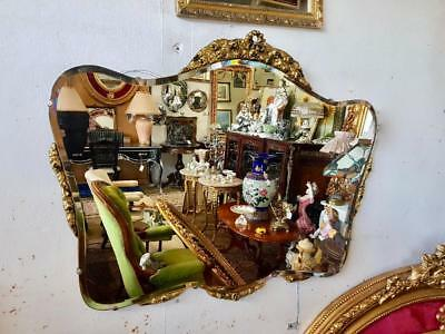 Large Antique Art Deco Fan Shaped Bevelled Mirror With Gold Details Top & Bottom