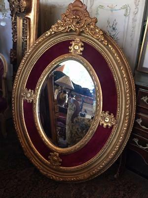 Large French  Gold Bevelled Wall Mirror With Red Velvet Huge 3 Day Mirror Sale