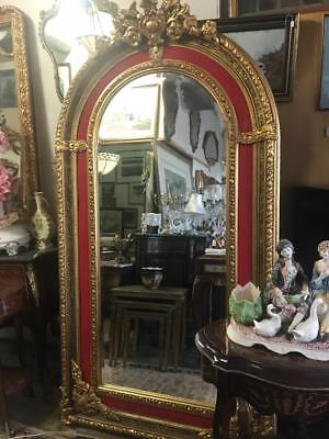 French Louis Gold Floor Bevelled Mirror. Red Velvet Surround Huge 3 Day Sale