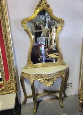 Rococo Influenced Carved French Louis Xv  Gold Leaf Console Table And Mirror