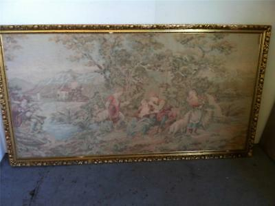 ANTIQUE / VINTAGE AUBUSSON STYLE  GILT FRAMED TAPESTRY..193 x 105cm..