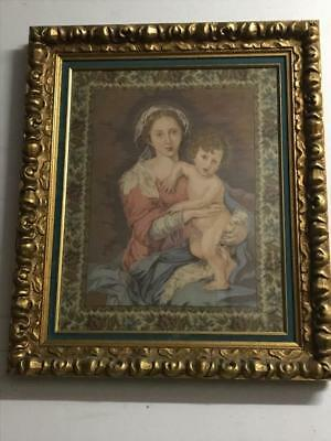 Vintage Ornate Gilt Framed Tapestryof Madonna And Child.under Glass 75 X 64.Cm..