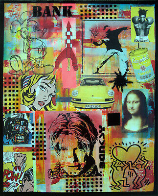 BANK Tableau pop STREET ART painting canvas PyB signed french